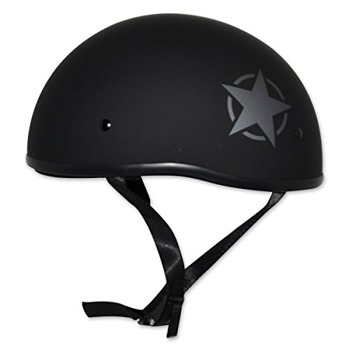 Zox Mikro Old School Lonestar Helmet Matte Black (Black, Medium)