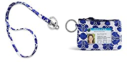 Vera Bradley Zip Id Case and Lanyard in Cobalt Tile