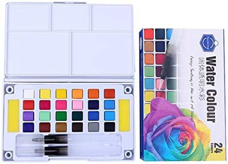 Aquarellfarben Set, Aquarell Wasserpinsel Farbe Set Metallische Feste Gouache 12/36 Farben Festes Pigment + 1 Hookline-Stifte (24 Farben)