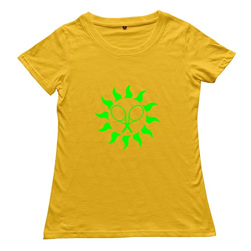 Goldfish Women's Funny Quotes Organic Cotton Tennis Sun T-Shirt Yellow US Size -