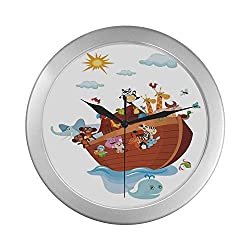 C COABALLA Noahs Ark Simple Silver Color Wall Clock,Noahs Ark Cartoon Style Snake Butterflies Bees Insects Fishes Toucan Wildlife for Home Office,9.65 D
