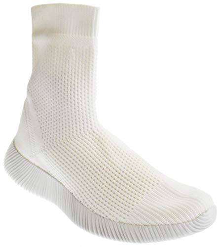 Forever Yes 38 Womens Elastic Fabric Knit Sock Hightop Sneaker White 6