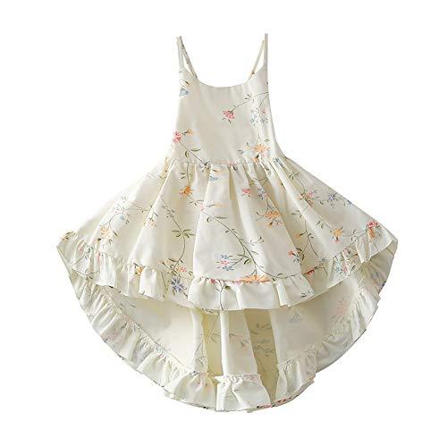 Girls' 2T-12 Cotton Floral Dress Summer Backless Casual Sundress (7-8, -