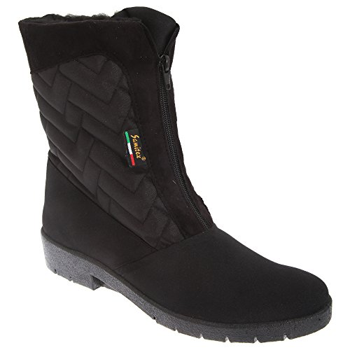 Ladies Boots Black Centre Winter Zip Mod Warmlined Thermal Womens Comfys FqaczW6P
