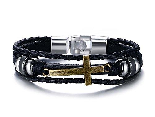 Herinos+Men+Women+Vintage+Leather+Braided+Rope+Wrist+Band+Bracelet+Cross+Hematite+Bangle