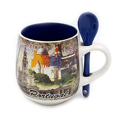 Portugal Ceramic - Portuguese Ceramic Coffee Mug with Spoon Souvenir from Portugal