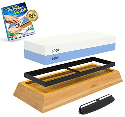 Whetstone Knife Sharpening Stone: 2-Sided Knife Sharpener Set, 1000/6000 Grits, with Non-Slip Base, Angle Guide, Illustrated PDF & Video Instructions - (Arkansas Honing Stone/Japanese Waterstone)