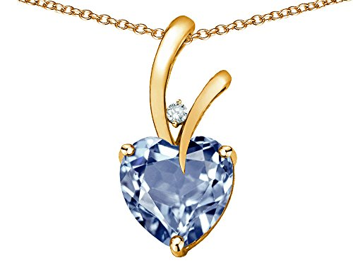 Star K Heart Shape 8mm Simulated Aquamarine Endless Love Pendant Necklace 10 kt Yellow Gold