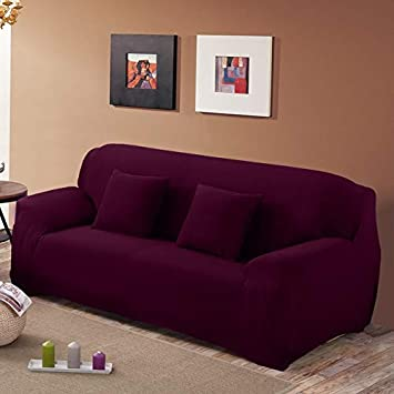 Amazon.com: Fiesta Solid Color Stretch Sofa Cover Elastic ...