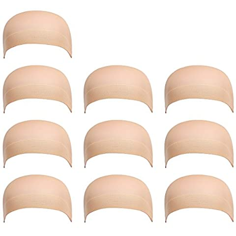 10 Pack Dreamlover Nylon Wig Caps, Skin Color Stretchy Close End Stocking Wig Caps (Natural Nude Beige)