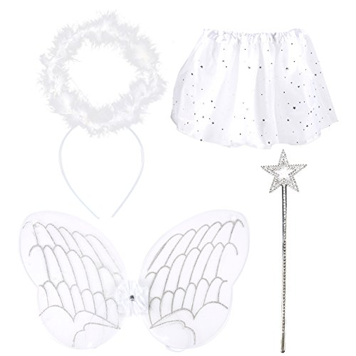 Blue Panda Angel Dress Up 4 Piece Set - Kids Costume Includes Tutu, Angel Wings, Star Wand & Halo Headband