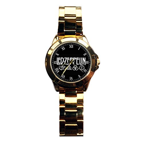 G-Store Men's Led Zeppelin Logo Symbols Gold Stainless-Steel Quartz Watch with Gold Dial