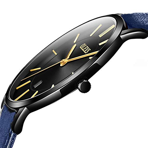 OLEVS Womens Minimalist Ultra Thin Big Face Date Analog Leather Wrist Watches Ladies Slim Simple Casual Dress Black Large Dial Gold Hands Quartz Watch Waterproof with Navy Blue Band Classic Teens Gift ()