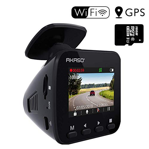 Dash Cam WiFi Car Camera - AKASO V1 Dash Camera for Cars 1296P with Phone APP GPS 16GB Memory Card 1.5