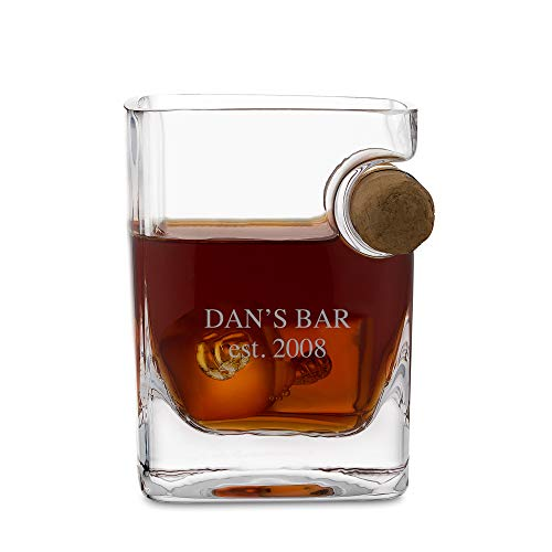 (Personalized Corkcicle Double Old Fashioned and Cigar Holder Glass with Engraving Included )