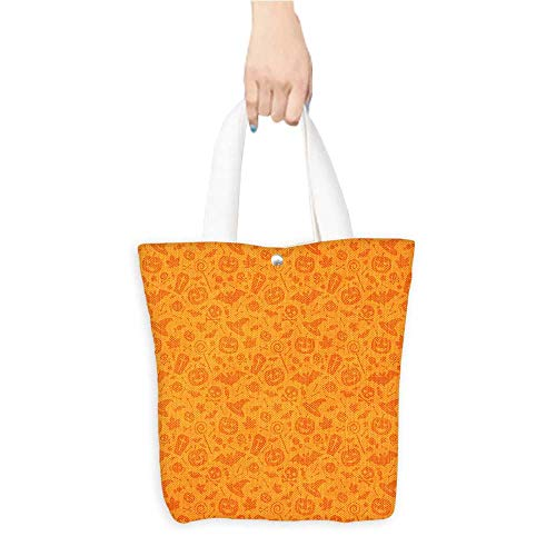 Eco-Friendly Canvas bags Traditi al Halloween Themed Objects Celebrati Day Orange Easy to all-match W11 x H11 x D3 -