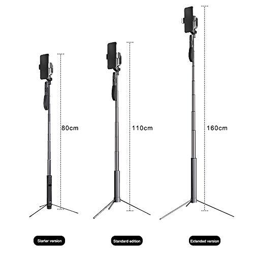 FeliSun Versenkbarer Selfie-Stick mit Stativ, 2 * Fülllicht, Drahtlose Bluetooth-Fernbedienung, Panoramaaufnahme mit Anti-Shake-Stabilisator, Höhe der Metallstange Einstellbar (30-160 cm)