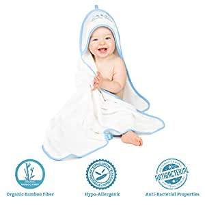 Ernestiny Organic Bamboo Hooded Towel for Babies - (6- Pc. Wash Set) 3 Washcloths, Bathing Glove, Toy Rubber Duck | Ultra-Soft, Super Absorbent | Perfect Shower Gift for a Baby boy
