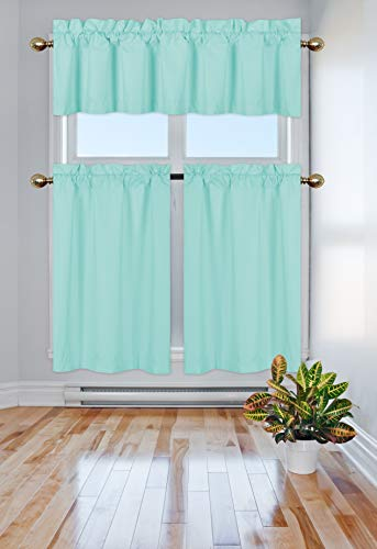 Elegant Home Collection 3 Piece Solid Color 90% Blackout Kitchen Window Curtain Set with Tiers and Valance Solid Thermal Room Darkening Drape Window Treatment # R3 MF (Turquoise) ()