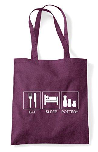 Activity Tote Sleep Shopper Plum Eat Tiles Pottery Funny Hobby Bag qw7qABSx