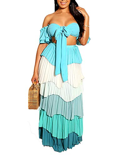 (IyMoo Sexy Chiffon Sundress Tie Dye Dresses for Women Halter Neck Backless Long Boho Print Beach Dresses (L, Sky Blue))