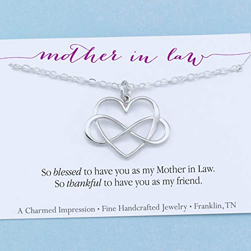 Mother In Law Gift • Infinity Heart Necklace • Sterling Silver • Blessed & thankful to have you as my friend