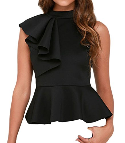 Shawhuwa Womens Sexy Asymmetric Ruffle Side Peplum Top Clubwear S Black