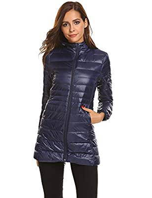 Beautytalk Women's Down Coat Ultra Light Weight Packable Hooded Puffer Down Jacket