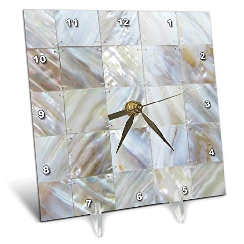(3dRose dc_50911_1 Picturing Mother of Pearl Desk Clock, 6 by 6