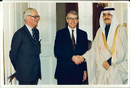 Vintage photo of Saudi Arabia: Prince Mohammad Bin Fahd Bin Abdul-Aziz, Douglas Hurd and John Major.