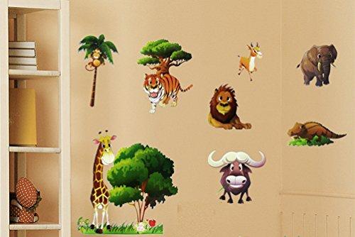 Wild safari animal wall stickers for nursery playroom for Jungle themed playroom