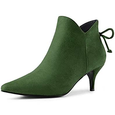 Allegra K Women's Pointed Toe Kitten Heel Green Ankle Booties - 6 M US