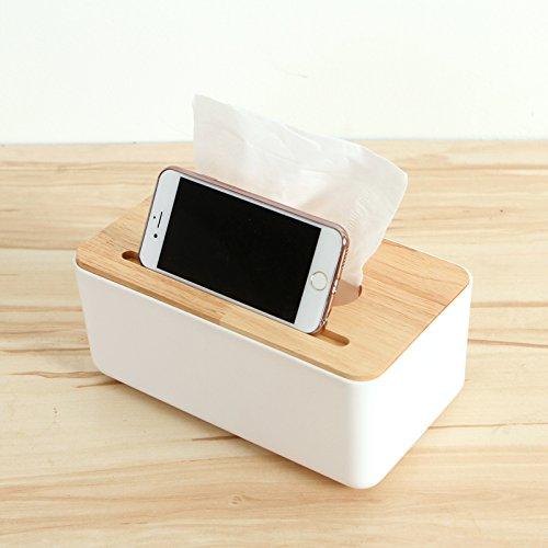 Oak Tissue Holder (Astra Gourmet Oak Cap Tissue Box Cover/Toilet Paper Holder/ Napkin Dispenser with Mobile Phone Slot for Your Home, Bathroom ,Office and Car)