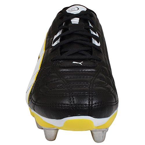 Puma Universal H8 - Rugby-Scarpe Uomo - per fondo morbido - Colore nero/bianco/Giallo