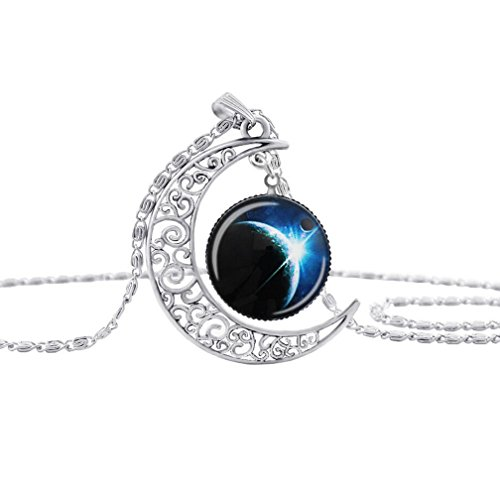 Adorable Woman Galaxy Necklace Hollow Out Crescent Star Galactic Cosmic Moon Charm Necklaces