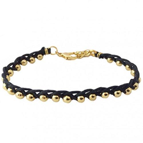 (Studded Single Side Braid Bracelet in Black)