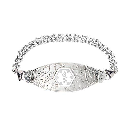 Divoti Custom Engraved Lovely Filigree Medical Alert Bracelet -Handmade Byzantine -White-6.5'' by Divoti