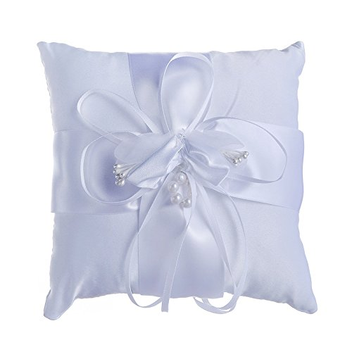 Adeeing Lovely Flower Buds Wedding Bridal Ring Pillow Cushion Bearer White Wedding Accessories 6x6Inches