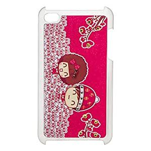 Piaopiao Couple Pattern Hard Case with Rhinestone for iPod Touch 4