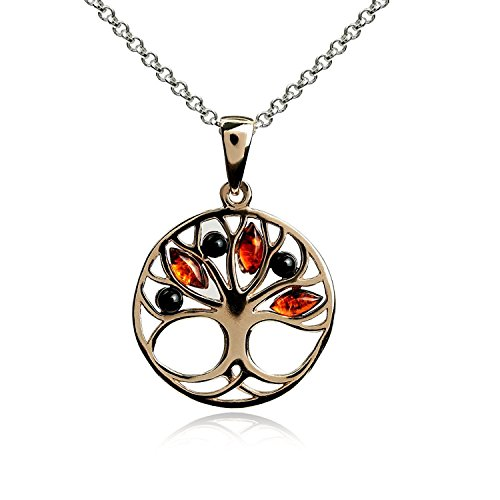 Gopher Jewelry Pendant (Multicolor Amber Sterling Silver Tree Pendant Necklace Chain 18