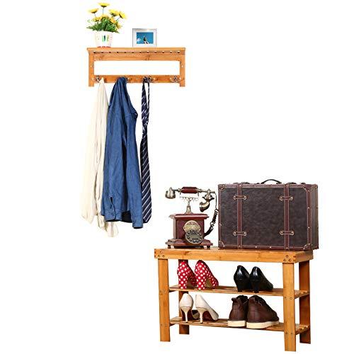 Homde Bamboo Bench Sturdy Shoe Rack Bench 3-Tier Shoe Storage Shelf with Coat Hook, Ideal for Entryway Hallway Bathroom Living Room and Corridor