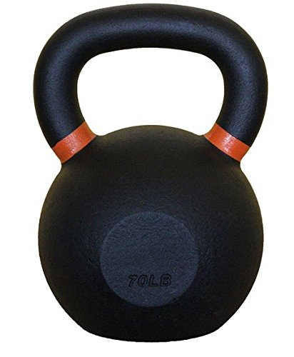 Bodykore Premium Kettlebell- Black Powder Coat Finish- 4kg/9lb, 8kg/18lb, 12kg/26lb, 16kg/35lb, 20k/44lb- One Year Manufacturer Warranty! (H - ORANGE, 32 KG/70 (Akc Powder)