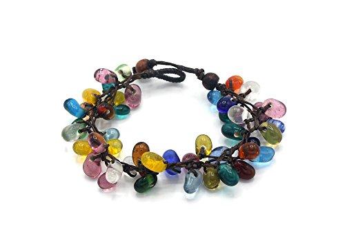 MGD, Colorful Indian Glass Bead Bracelet, 19 CM w/ 1 Inch Extend 3-Strand Bracelet, Wrap Bracelet, Women Fashion Jewelry, JB-0344B ()