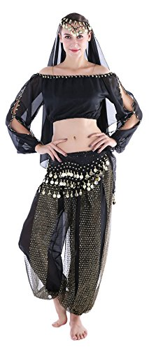 Women's Belly Dancing Costumes Gypsy Outfits with Harem Pants Top Black ()