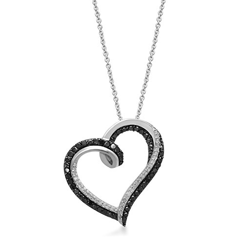 Jewelili Sterling Silver 1/3 cttw Round Black and White Diamond Tilted Heart Pendant Necklace, 18