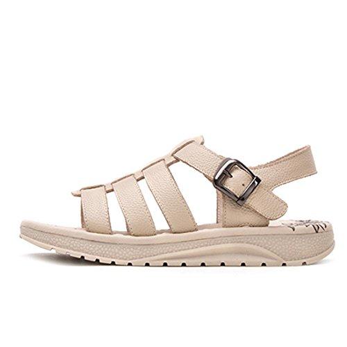 Mujer de verano Los nuevos plana La palabra sandalias del ocio simple cómodas sandalias de tacón alto 03 beige