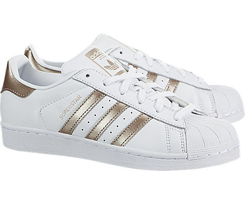 adidas Originals Women's Superstar Sneaker Cyber Metallic/White, 6 M US