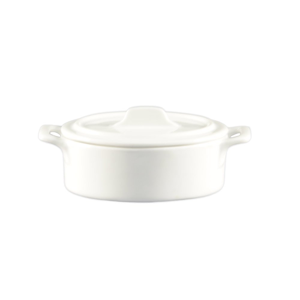 CAC China GMJ-5 6-Ounce Porcelain Oval Jar with Lid and 2 Handles, 5-1/2 by 3-3/4 by 2-7/8-Inch, Super White, Box of 36