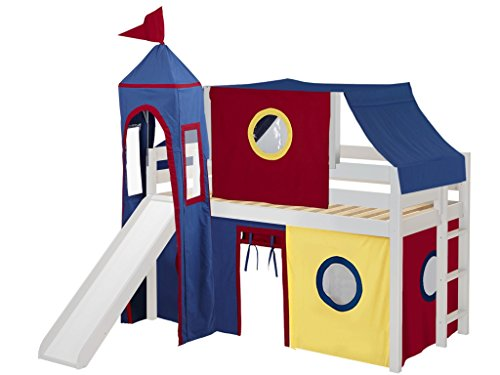- JACKPOT! Castle Low Loft Bed with Slide Red & Blue Tent and Tower, Loft Bed, Twin, White