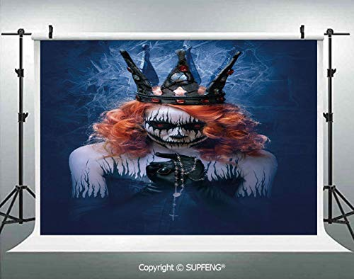 Background Queen of Death Scary Body Art Halloween Evil Face Bizarre Make Up Zombie 3D Backdrops for Interior Decoration Photo Studio Props